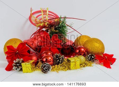 Christmas decoration composition in red and gold. New Year 2016 colorful decor