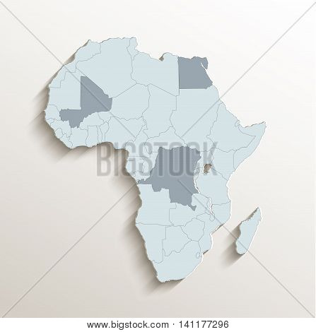 Africa political map white blue 3D vector