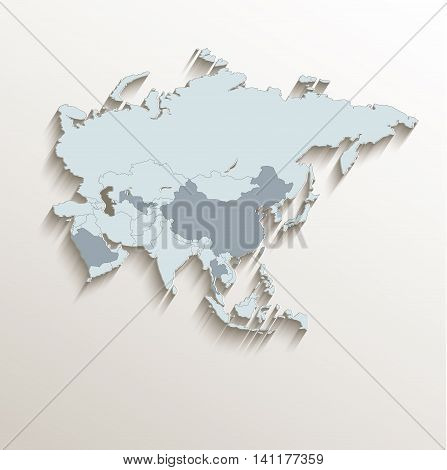 Asia political map white blue 3D vector