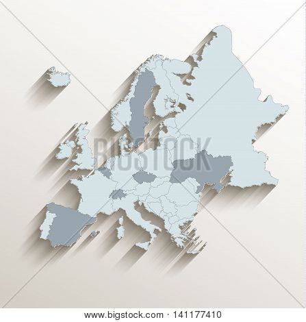 Europe political map white blue 3D vector