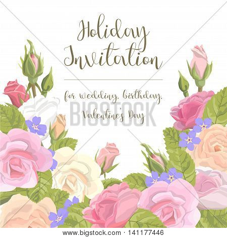 Romantic vintage greeting card holiday invitation to a wedding, birthday, Valentine's Day vector illustration. Delicate flower wreath of roses, buds, leaves, with an inscription on a white background