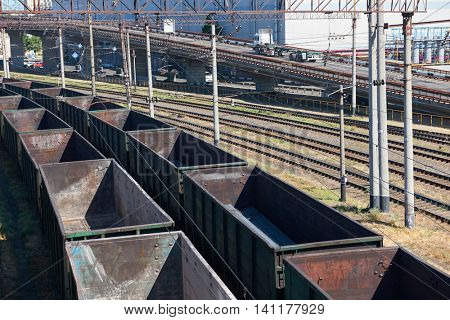 industrial railroad car and infrastructure, cargo transportation and shipping