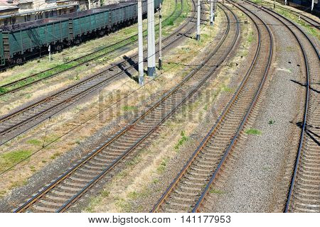 empty industrial railroad and infrastructure, cargo transportation and shipping