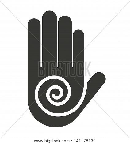 hand fingers stop handprint icon vector illustration