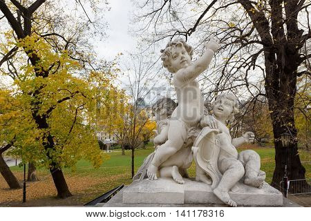 Children sculpture in front of a park. Vienna Austria