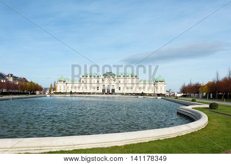 Belvedere palace view with water basin in Vienna Austria