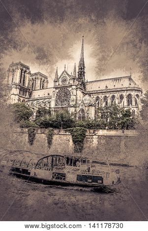 notre-dame church, tourist boat, view from Seine, southern facade. Vintage painting, background illustration, beautiful picture, travel texture