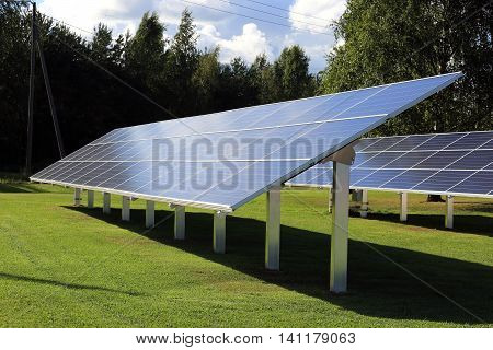 Solar panels placed on green grass field in late afternoon sunlight.
