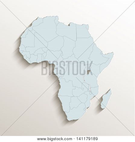 Africa political map white blue 3D raster