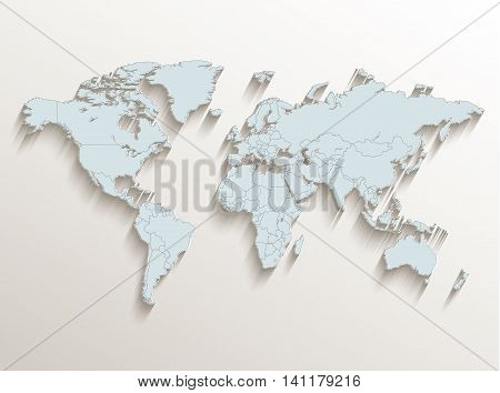 World political map white blue 3D raster