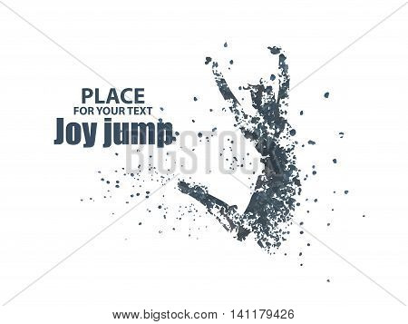Jump woman, Vector graphics composed of particles. isolated on white background.