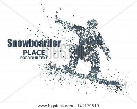 Skiers particle divergent composition, Vector illustration. isolated on white background.