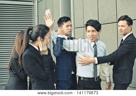 concept of office bully or fight with man and woman in the city