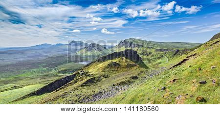 Panoramic View of the Trotternish the Northernmost Peninsula of the Isle of Skye in Scotland