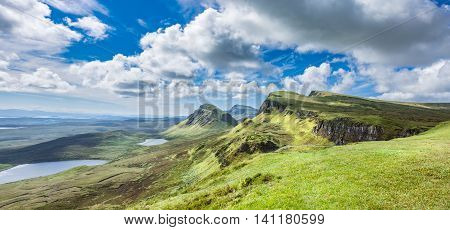 Panoramic View of Northwest Part of Quiraing Hill Isle of Skye Scotland