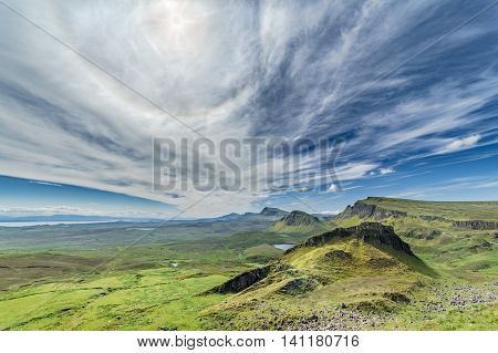 Scottish Highlands Peaks at Bright Sunny Day on the Isle of Skye