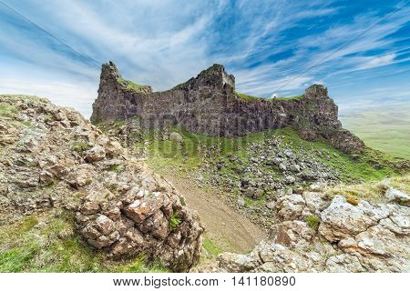 The Prison Volcanic Rocks of the Quiraing Hill on the Isle of Skye