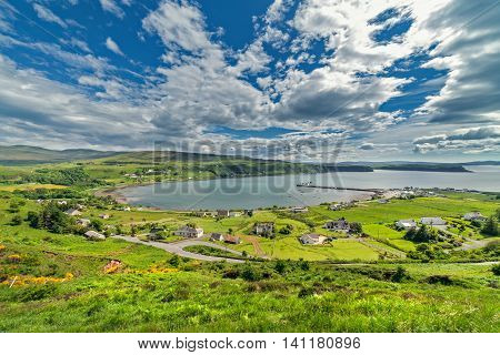 The Village of Uig on the West Coast of the Trotternish Peninsula on the Isle of Skye Scotland
