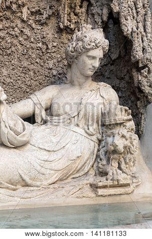 Four Fountains is a group of four Late Renaissance fountains in Rome Italy. The figure of one fountain represent the goddess Juno
