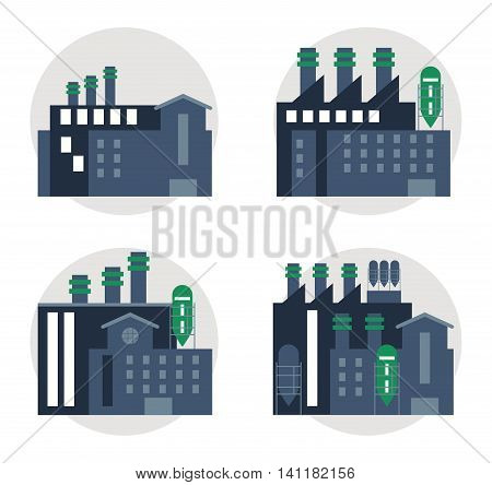 Plant set blue building chimney factory industry icon. Circles and Colorfull illustration. Vector graphic