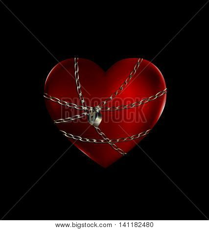 dark background and the big red heart-stone with iron chain and lock