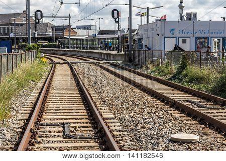 Hoek van Holland the Netherlands - July 31 2016: train tracks leading to Hoek van Holland train station