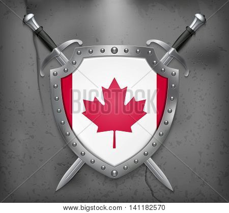 Flag Of Canada. The Shield Has Flag Illustration. Vector Medieval Background