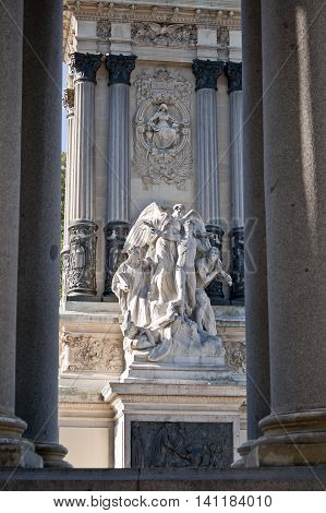 Detail of Monument to King Alfonso XII located in Retiro Park Madrid Spain . The monument is 30 meters high 86 meters long and 58 meters wide and was designed by Jose Grases Riera and inaugurated on June 6 1922