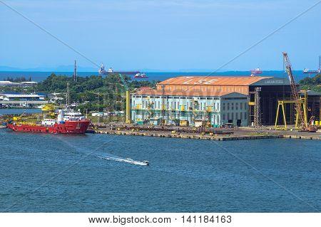 LabuanFT,Malaysia-July 15,2016:Big vessel under repairing & maintenance in Labuan shipyard at Labuan FT.It is a Malaysian shipbuilding company based in Labuan island & the biggest shipyard in Borneo