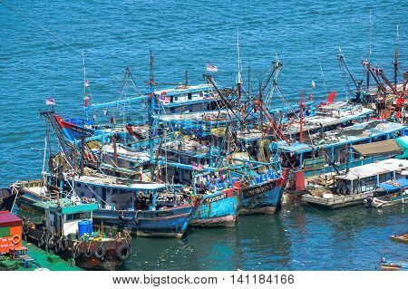 Labuan,Malaysia-Aug 5,2016:Fishing boats at the jetty after returning from sea at Labuan Federal Territory,Malaysia.The fishing industry contributes a significant income to islanders here