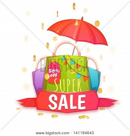 Super sale banner with color packet and coins. Vector illustration.