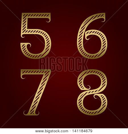 Five six seven eight golden striped numbers with flourishes. Diagonal stripes vintage font.