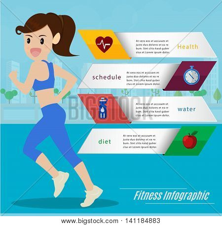 Woman Jogging and running infographics set and running outdoor for health lifestylerun run statistic Cartoon vector illustration.