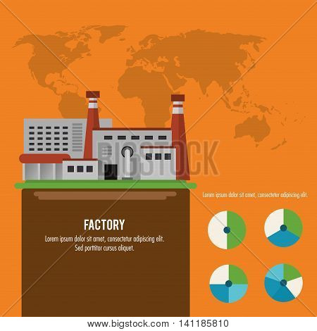 Plant infographic map earth building chimney factory industry icon. Flat and Colorfull illustration. Vector graphic