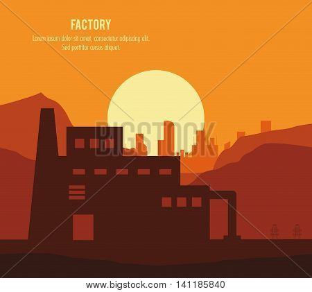 Plant sun landscape building chimney factory industry icon. Silhouette illustration. Vector graphic