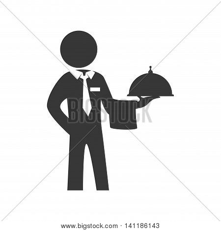 Waiter plate male pictogram suit person icon. Isolated and flat illustration. Vector graphic