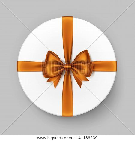 Vector White Round Gift Box with Shiny Orange Satin Bow and Ribbon Top View Close up Isolated on Background