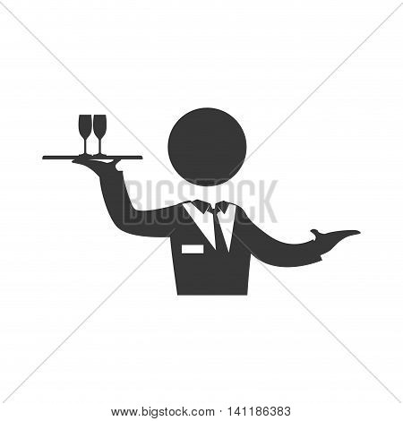 Waiter cup male pictogram suit person icon. Isolated and flat illustration. Vector graphic