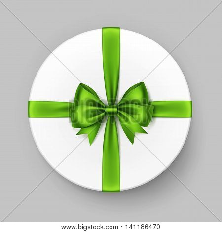 Vector White Round Gift Box with Shiny Light Green Satin Bow and Ribbon Top View Close up Isolated on Background