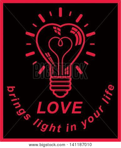 Vector electricity light bulb symbol isolated on white background. Love brings light in your life.