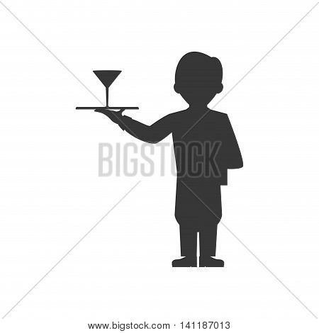 Waiter cup male avatar suit person icon. Isolated and flat illustration. Vector graphic