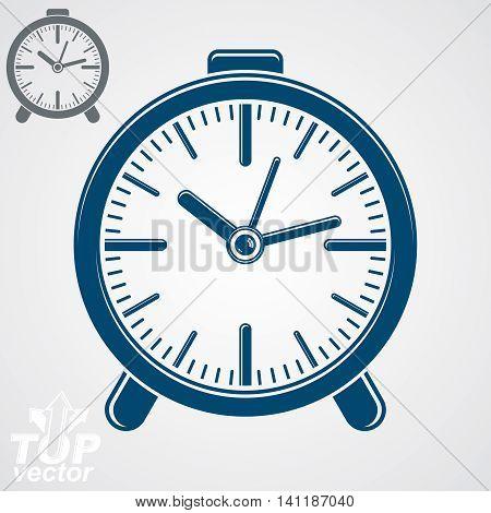 Vector blue classic desk clock vector illustration. Wake up conceptual symbol.