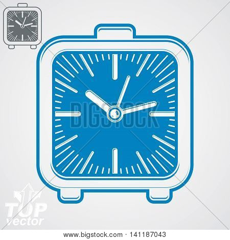 Vector square table clock with simple clockwise includes additional version.