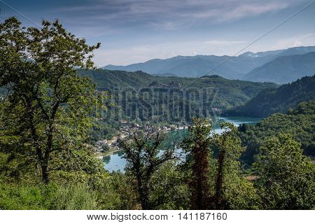 Garfagnana Tuscany Italy - The artificial lake of Gramolazzo Serchio Valley Tuscany Italy view from the old churh of Gorfigliano