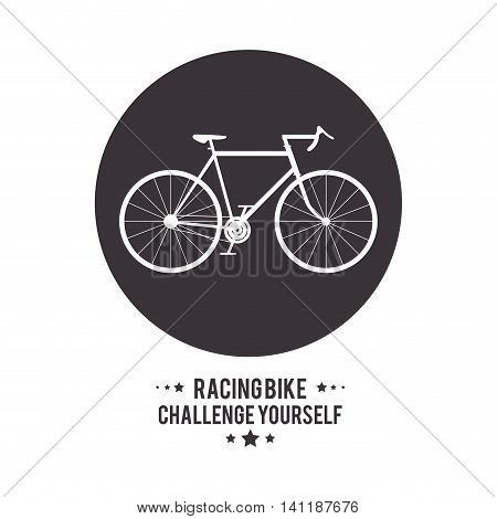 bike cycle bicycle racing challenge yourself icon. Seal stamp silhouette Black and White illustration. Vector graphic