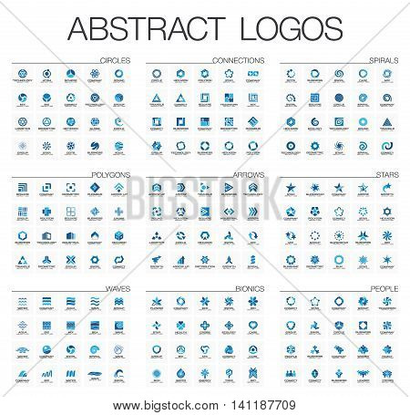 Abstract logo set for business company. Corporate identity design elements. Star, arrow, water wave, people connect concept. Circle, polygon, square, spiral logotype collection. Colorful Vector icons