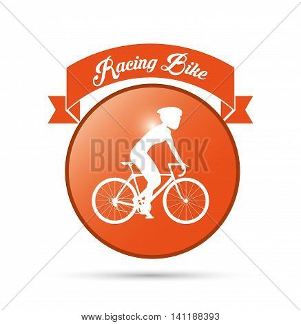 bike cycle bicycle racing man male boy cartoon helmet challenge yourself icon. Seal stamp ribbon and Silhouette illustration. Vector graphic