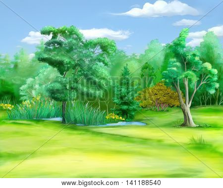 Digital Painting Illustration of a field at the edge of the forest in a summer day. Cartoon Style Character Fairy Tale Story Background.