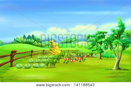 Digital Painting Illustration of a Haystack in a garden under blue sky in a summer day. Cartoon Style Character Fairy Tale Story Background.
