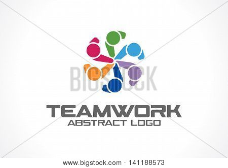 Abstract logo for business company. Corporate identity design element. Technology, Social Media Logotype idea. People connect, segments compound in circle form, geometric concept. Colorful Vector icon